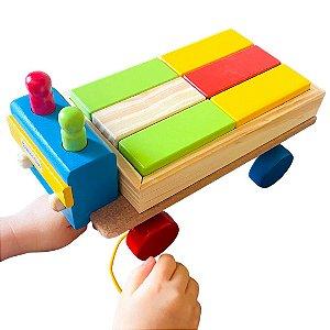 Brinquedo de Madeira - Caminhão com 12 Retângulos e 2 Pinos