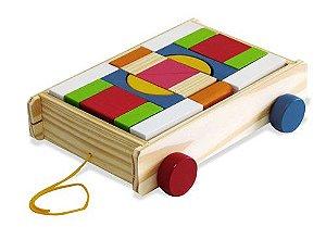 Brinquedo de Madeira - Carrinho de Puxar Blocos Coloridos - 20 peças