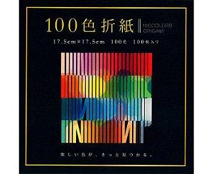 Papel de Dobradura 100 cores lisas 17,5x17,5cm 100Fls