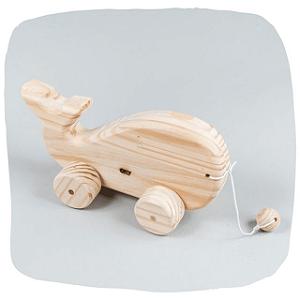 Brinquedo de Puxar - Baleia de madeira pinus