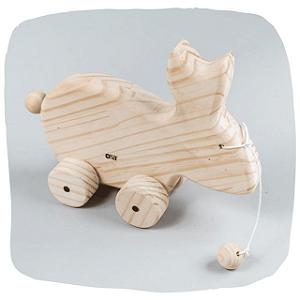 Brinquedo de Puxar - Coelho de madeira pinus