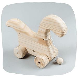 Brinquedo de Puxar - Dinossauro de madeira pinus