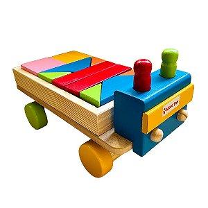 Brinquedo de Madeira - Caminhão com 10 Blocos e 2 Pinos
