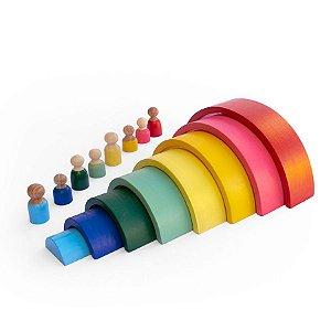 Arco-íris de Madeira + Pessoas - Inspirado na Pedagogia Waldorf