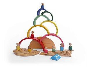 Combo Arco-íris de madeira, Formas e Pessoas - inspirados pedagogia Waldorf