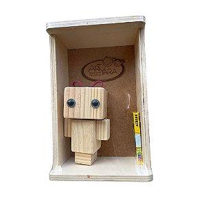 Boneco Articulado de Madeira - Amigos Quadradinhos Paty Pink