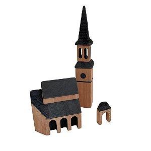 Igreja de madeira tipo Waldorf - 3 peças