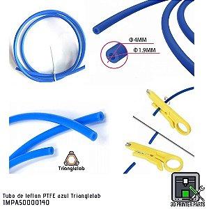 Tubo de teflon PTFE azul Trianglelab com tesoura de corte