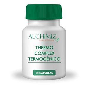Thermo Complex Termogênico 30 cápsulas: Vitamina C 30mg Niacinamida 50mg Pantotenato de Cálcio 50mg Vitamina B6 60mg Riboflavina 2mg Vitamina B1 25mg Cromo Quelato 50mcg Vitamina B12 12mcg Cafeína 210mg