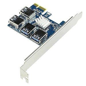 Conversor PCIE 1X x Riser 4 USB 3.0