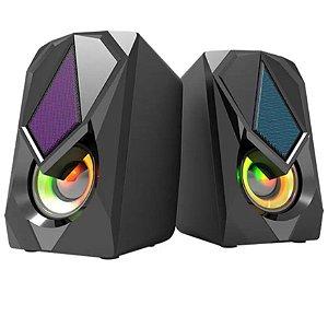 Caixa de Som 2.0 RGB USB P2 High Quality KP-R0800 Knup