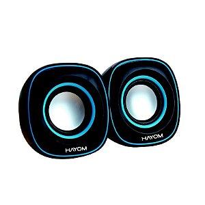 Caixa de Som Preto/Azul PC/Notebook P2 USB 6W KM2503 Hayom