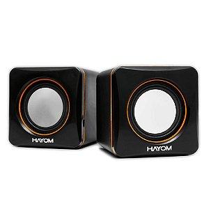 Caixa de Som Preto/Azul PC/Notebook P2 USB 6W KM2501- Hayom