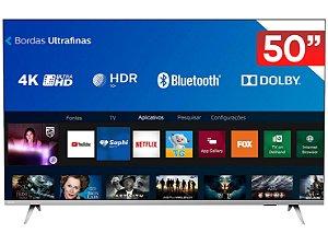 "Smart TV Philips 50"" 4K Ultra HD Sem Bordas Wi-Fi Bluetooth 3 HDMI 2 USB"