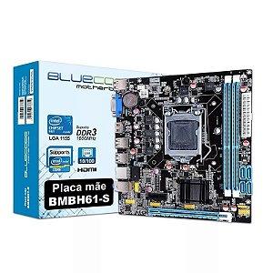 Placa mãe LGA 1155 BMBH61-S DDR3/1600 10/100 BLUECASE 2° e 3º geração