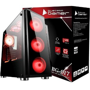 Gabinete Gamer BG-017 Bluecase MID Tower S/Fonte Vidro Temperado