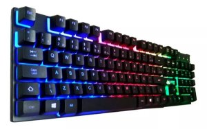 Teclado Gamer Semi Mecanico Preto Iluminado RGB KP-02043 KNUP