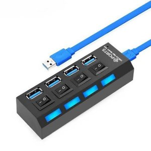 HUB USB 4 Portas 3.0 Switch On/Off Led Indicador Exbom