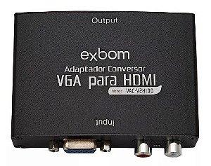 Conversor VGA x Hdmi c/Audio e Fonte 5V Exbom