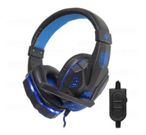 Headphone Gamer P3 LED Azul  PC/CONSOLES HF-G390P4 Exbom