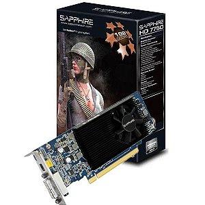 Placa de Vídeo HD7750 1GB DDR5 128Bit Saphire Low Profile PCI-e Display P/HDMI/DVI-I