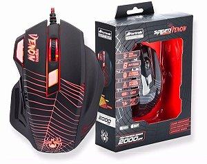 Mouse Gamer Spider Venom 6 Botões 2000dpi Fortrek