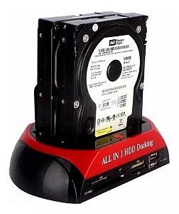 """Dock Station 2 HDs 2,5 3,5"""" Leitor de Cartão SD e USB KNUP"""