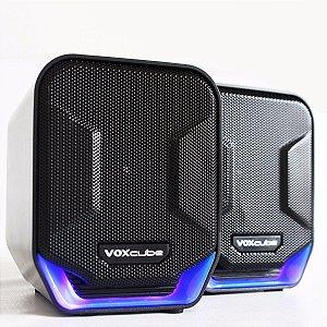 Caixa de Som Preto/Azul PC/Notebook P2 Voxcube RMS 8W VC-D360 Infokit