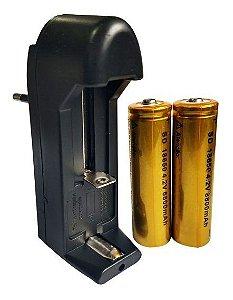 KIT Carregador + 2 Baterias 18650 4.2V 9800mAh