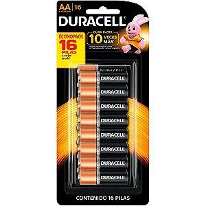 Pilha Duracell Alcalina MN1500B16 AA 16 Unidades