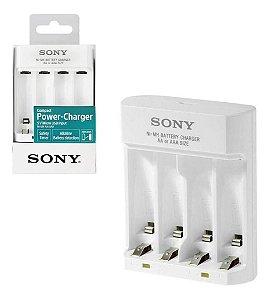 Carregador de Pilhas Sony Micro USB para 4 Pilhas AA/AAA Recarregáveis BCG-34HHU