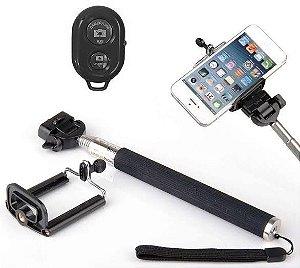 Bastão de Selfie Preto Monopod com Controle Bluetooth