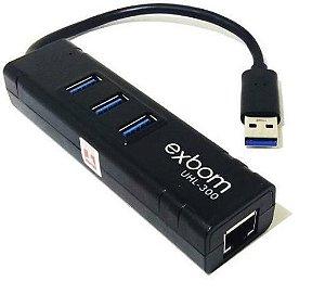Placa de Rede Gigabit + HUB USB 3.0 3 Portas UHL-3000 Exbom
