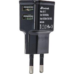 Fonte de Energia USB 2 Portas 2,1A Smartphone Tablet UPK121 Fortrek