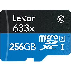 Cartão de Memória MicroSD 256GB Classe 10 + Adaptador UHS-I Lexar