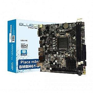 Placa Mãe LGA 1155 BMBH61-D DDR3 GIGABIT HDMI/VGA BLUECASE 2° e 3º geração