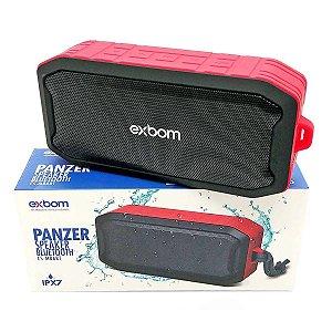 Caixa de Som Bluetooth à Prova d'Água Emborrachada USB SD FM AUX Panzer CS-M86BT Vermelha