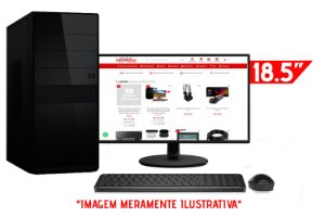 """Computador Completo Intel Pentium G2020 2.9GHz + Placa Mãe BrazilPC H61 + Memória 4GB DDR3 + SSD 128GB + Monitor AOC 18.5"""" + Teclado e Mouse Básicos"""