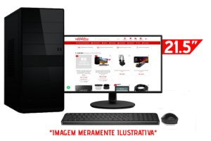 """Computador Completo Intel Pentium G2020 2.9GHz + Placa Mãe BrazilPC H61 + Memória 4GB DDR3 + SSD 128GB + Monitor AOC 21.5"""" + Teclado e Mouse Básicos"""