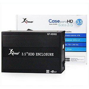 "Case Externa HD 3.5"" USB 2.0 Alumínio c/Fonte KP-HD002 Knup"