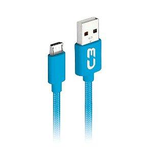 Cabo Micro USB 1 Metro 2A Revestido em Malha CB-M11BLX C3Tech