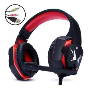 Headset Gamer Vermelho 5.1 P2 LED c/Microfone HF-G600 Exbom