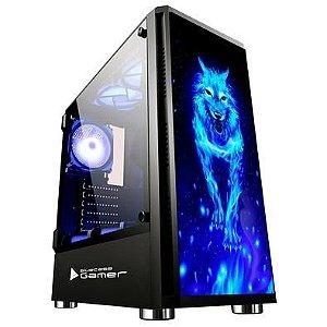 Computador Gamer Intel Core I3-9100F, Placa Mãe PCWare H310G, Fonte 600W Spark, Memoria DDR4 16GB, SSD SATA 512GB, Placa de Video RX 570 4GB, Water Cooler Sangue Frio, Gabinete Wolf Bluecase