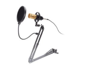 KIT Microfone Condensador Streamer c/Pedestal Pop Filter Aranha Espuma KP-M0010 Knup