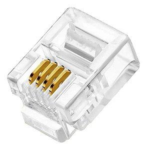 Conector RJ11 Telefonia 4 Vias Crystal