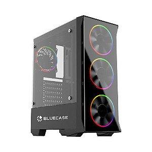 Gabinete Gamer RGB BG-036 Bluecase MID Tower S/Fonte Vidro Temperado