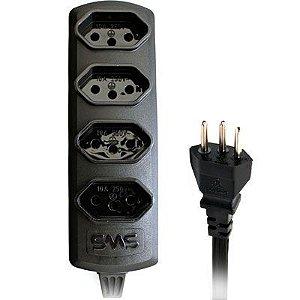 Extensão Elétrica 4 Tomadas 1M Bivolt 10A SMS