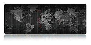 Mouse PAD Gamer Grande Mapa Mundi 700x350mm Emborrachado MP-7035C Exbom