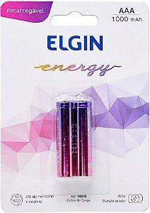 Pilha Elgin 1.2V AAA 900mAh Recarregável 1.2V Cartela 2 Unidades