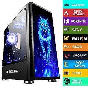 Computador Gamer CIA STRICT I5 10400, PLACA MÃE ASUS H410M-D, MEMORIA 16GB DDR4, SSD M.2 500GB, GABINETE WOLF, FONTE 600W, GTX 1650, WATER COOLER AZUL
